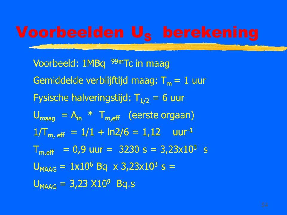 54 Voorbeelden U S berekening Voorbeeld: 1MBq 99m Tc in maag Gemiddelde verblijftijd maag: T m = 1 uur Fysische halveringstijd: T 1/2 = 6 uur U maag = A in * T m,eff (eerste orgaan) 1/T m, eff = 1/1 + ln2/6 = 1,12 uur -1 T m,eff = 0,9 uur = 3230 s = 3,23x10 3 s U MAAG = 1x10 6 Bq x 3,23x10 3 s = U MAAG = 3,23 X10 9 Bq.s