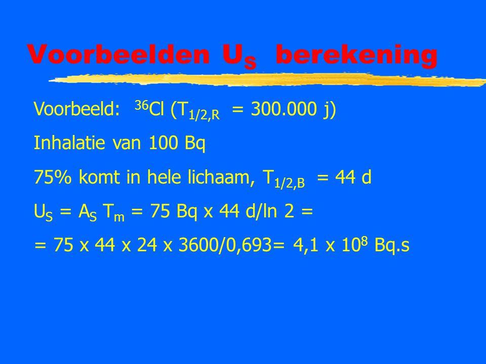 Voorbeelden U S berekening Voorbeeld: 36 Cl (T 1/2,R = 300.000 j) Inhalatie van 100 Bq 75% komt in hele lichaam, T 1/2,B = 44 d U S = A S T m = 75 Bq x 44 d/ln 2 = = 75 x 44 x 24 x 3600/0,693= 4,1 x 10 8 Bq.s