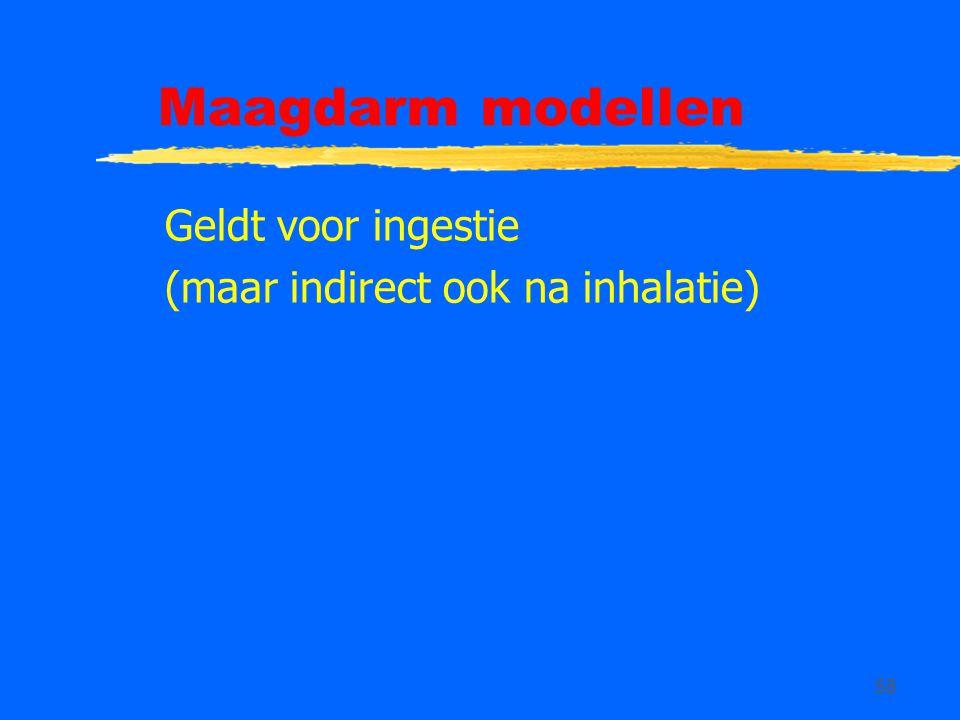 58 Maagdarm modellen Geldt voor ingestie (maar indirect ook na inhalatie)