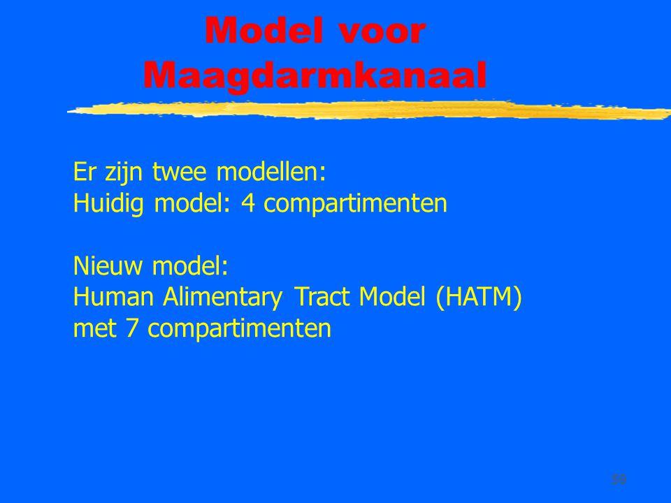 59 Model voor Maagdarmkanaal Er zijn twee modellen: Huidig model: 4 compartimenten Nieuw model: Human Alimentary Tract Model (HATM) met 7 compartiment