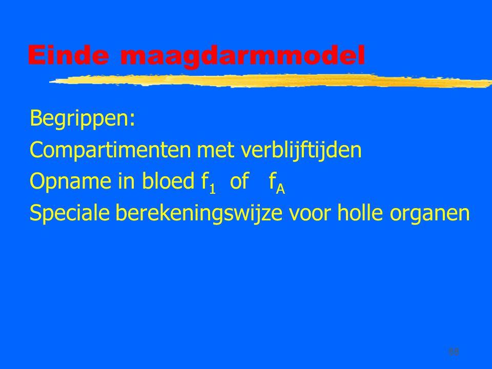 68 Einde maagdarmmodel Begrippen: Compartimenten met verblijftijden Opname in bloed f 1 of f A Speciale berekeningswijze voor holle organen