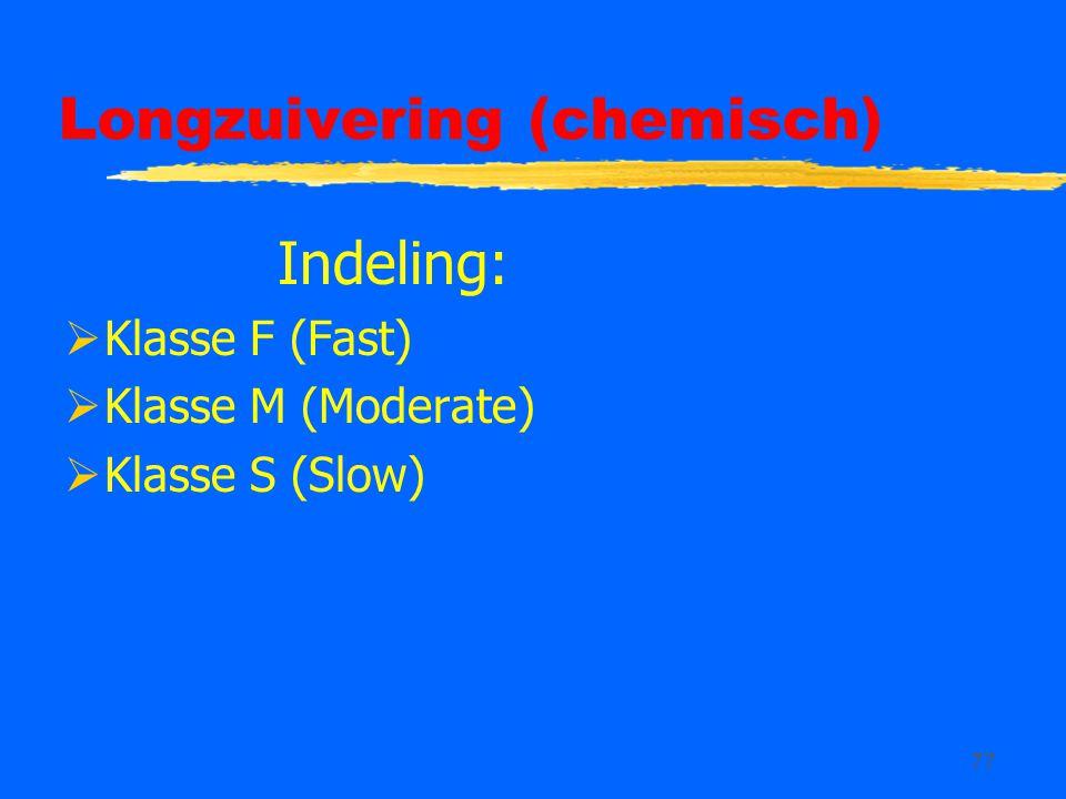 77 Longzuivering (chemisch) Indeling:  Klasse F (Fast)  Klasse M (Moderate)  Klasse S (Slow)