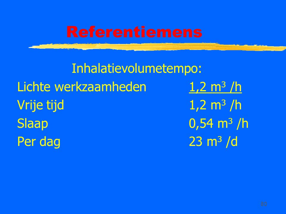 80 Referentiemens Inhalatievolumetempo: Lichte werkzaamheden1,2 m 3 /h Vrije tijd1,2 m 3 /h Slaap 0,54 m 3 /h Per dag23 m 3 /d