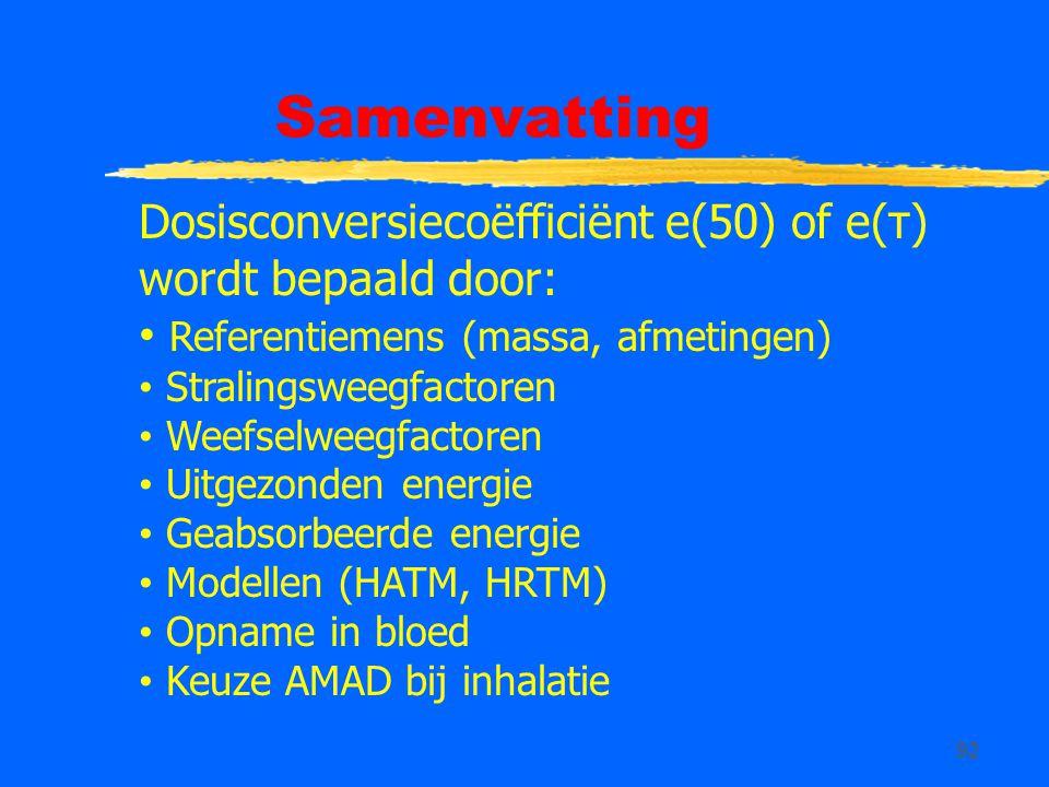 92 Samenvatting Dosisconversiecoëfficiënt e(50) of e(τ) wordt bepaald door: Referentiemens (massa, afmetingen) Stralingsweegfactoren Weefselweegfactoren Uitgezonden energie Geabsorbeerde energie Modellen (HATM, HRTM) Opname in bloed Keuze AMAD bij inhalatie