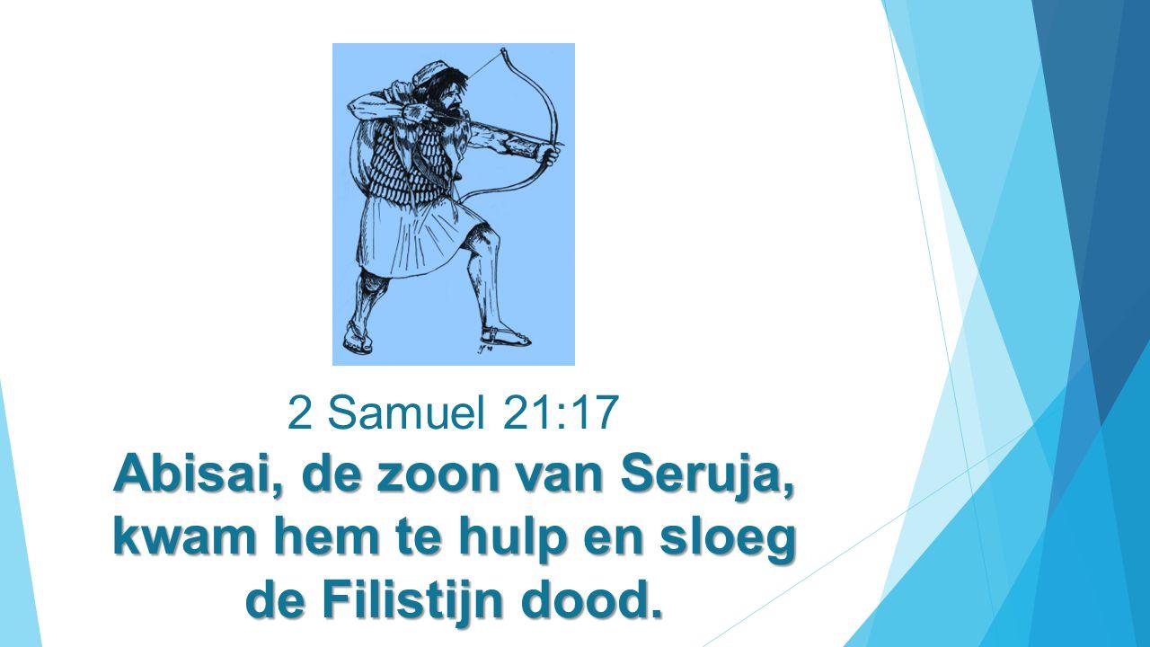 2 Samuel 21:17 Abisai, de zoon van Seruja, kwam hem te hulp en sloeg de Filistijn dood.