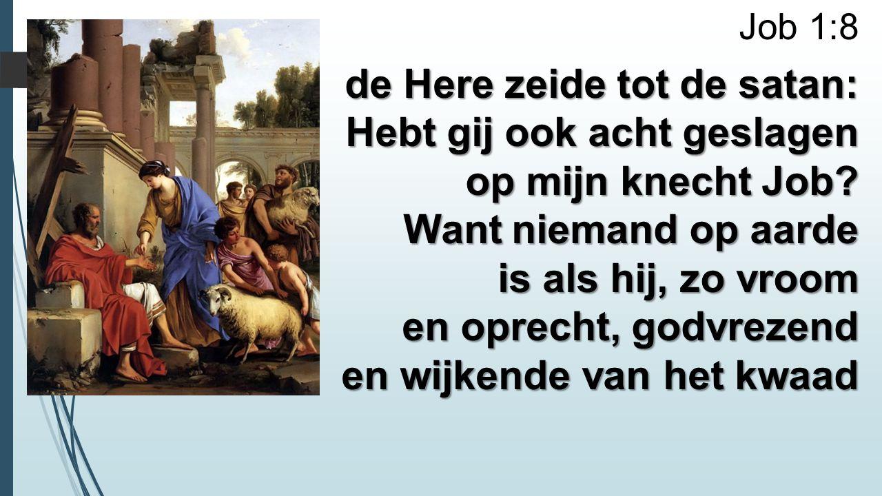 Job 1:8 de Here zeide tot de satan: Hebt gij ook acht geslagen op mijn knecht Job? Want niemand op aarde is als hij, zo vroom en oprecht, godvrezend e