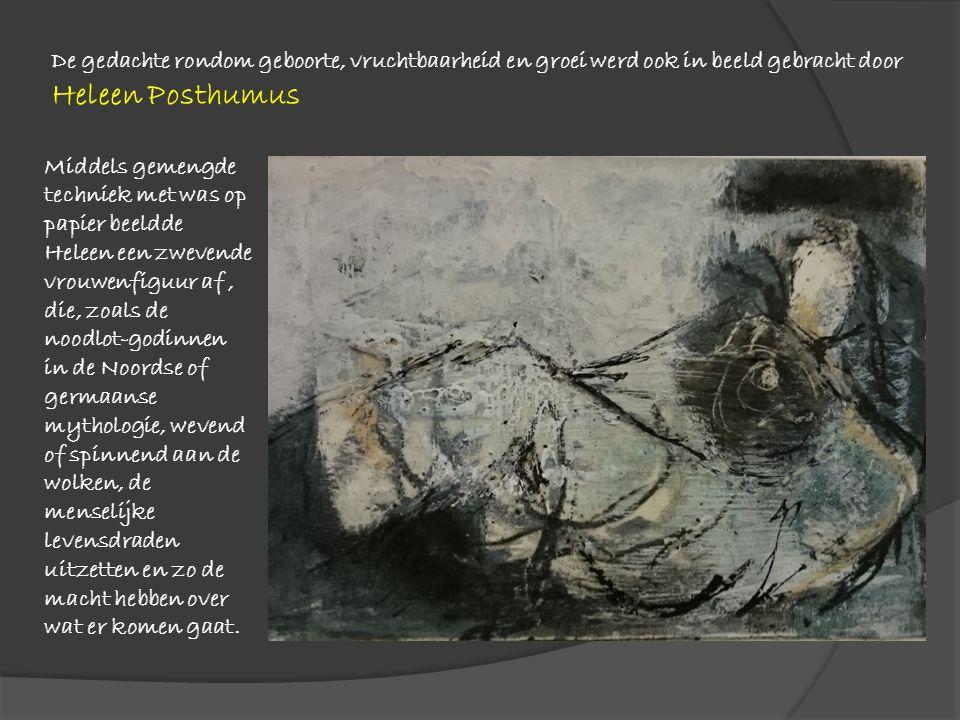 Middels gemengde techniek met was op papier beeldde Heleen een zwevende vrouwenfiguur af, die, zoals de noodlot-godinnen in de Noordse of germaanse my