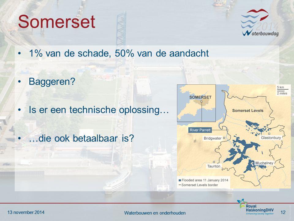 13 november 201412 Waterbouwen en onderhouden 13 november 201412 Waterbouwen en onderhouden Somerset 1% van de schade, 50% van de aandacht Baggeren.