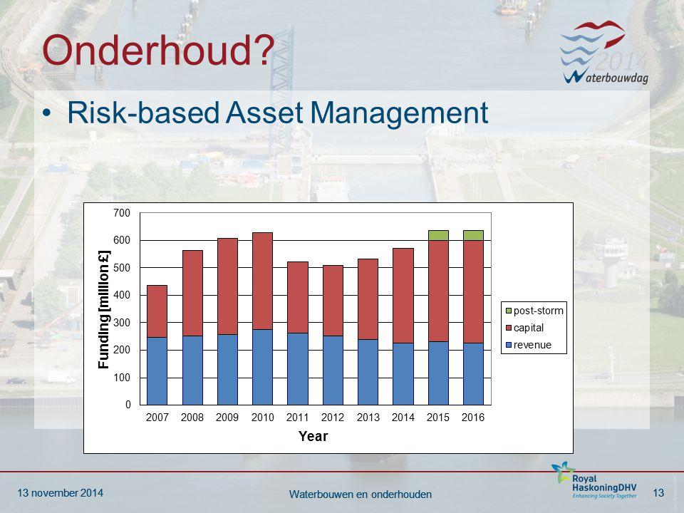 13 november 201413 Waterbouwen en onderhouden 13 november 201413 Waterbouwen en onderhouden Onderhoud? Risk-based Asset Management