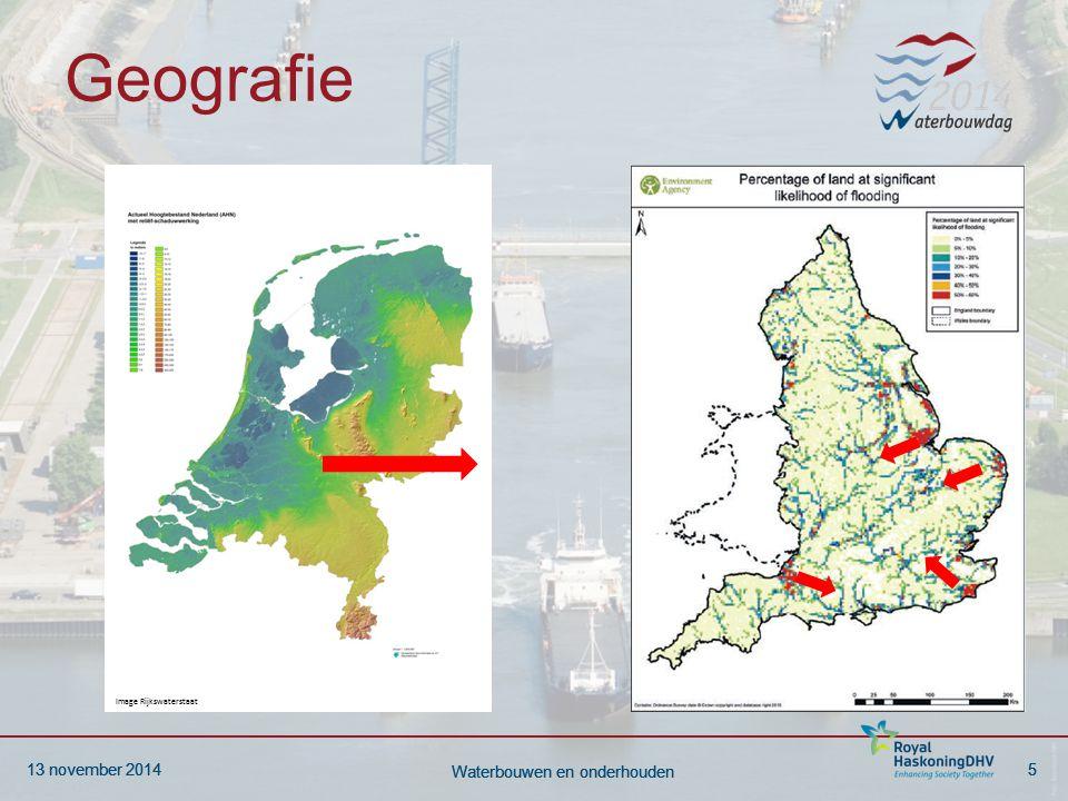 13 november 20146 Waterbouwen en onderhouden 13 november 20146 Waterbouwen en onderhouden Overstromingsrisico Huidig risico NL: 10 miljoen mensen Economisch risico ca € 2 miljard.