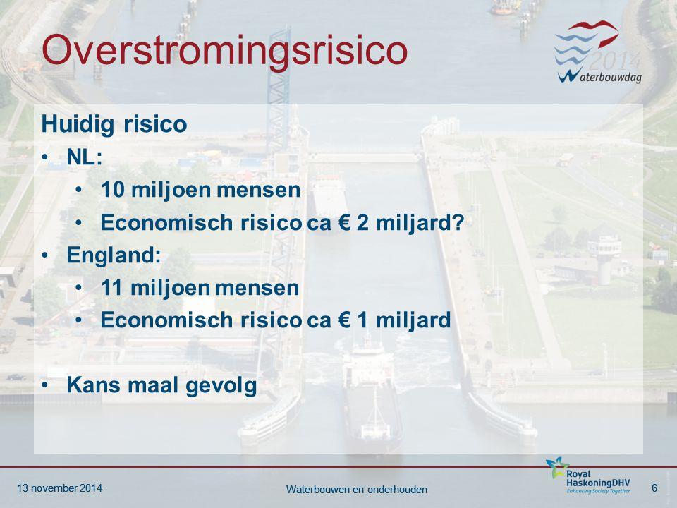 13 november 20146 Waterbouwen en onderhouden 13 november 20146 Waterbouwen en onderhouden Overstromingsrisico Huidig risico NL: 10 miljoen mensen Econ