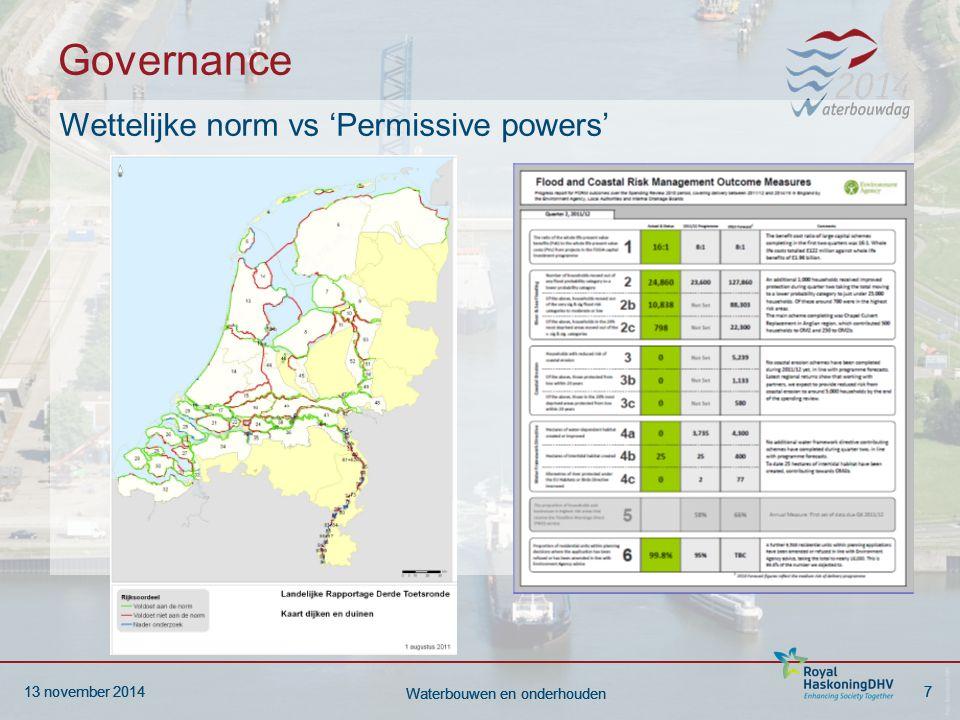 13 november 20147 Waterbouwen en onderhouden 13 november 20147 Waterbouwen en onderhouden Governance Wettelijke norm vs 'Permissive powers'