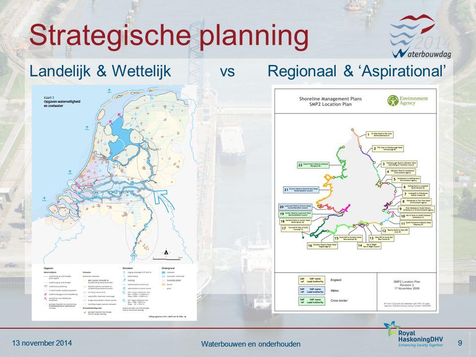 13 november 20149 Waterbouwen en onderhouden 13 november 20149 Waterbouwen en onderhouden Strategische planning Landelijk & Wettelijkvs Regionaal & 'Aspirational'