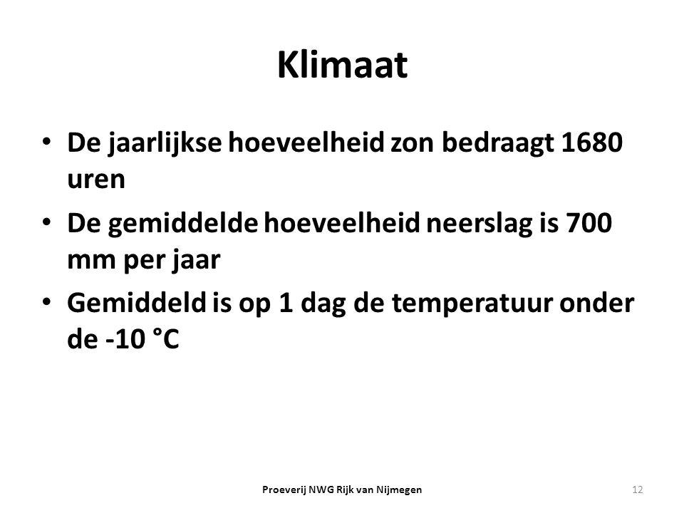Klimaat De jaarlijkse hoeveelheid zon bedraagt 1680 uren De gemiddelde hoeveelheid neerslag is 700 mm per jaar Gemiddeld is op 1 dag de temperatuur on
