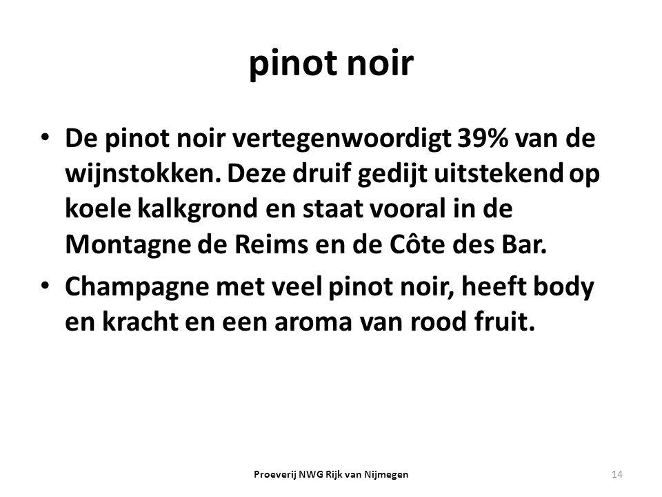 pinot noir De pinot noir vertegenwoordigt 39% van de wijnstokken. Deze druif gedijt uitstekend op koele kalkgrond en staat vooral in de Montagne de Re