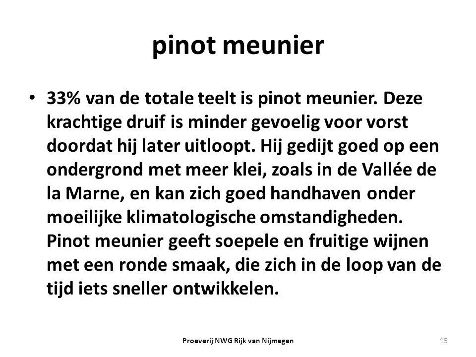 pinot meunier 33% van de totale teelt is pinot meunier. Deze krachtige druif is minder gevoelig voor vorst doordat hij later uitloopt. Hij gedijt goed