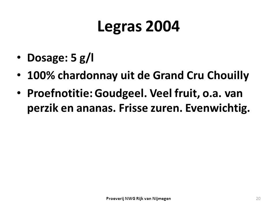 Legras 2004 Dosage: 5 g/l 100% chardonnay uit de Grand Cru Chouilly Proefnotitie: Goudgeel. Veel fruit, o.a. van perzik en ananas. Frisse zuren. Evenw