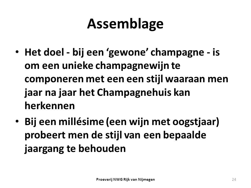 Assemblage Het doel - bij een 'gewone' champagne - is om een unieke champagnewijn te componeren met een een stijl waaraan men jaar na jaar het Champag