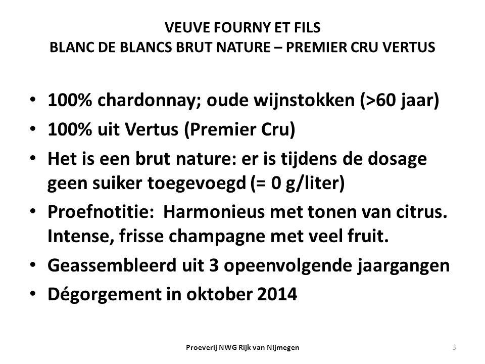 VEUVE FOURNY ET FILS BLANC DE BLANCS BRUT NATURE – PREMIER CRU VERTUS 100% chardonnay; oude wijnstokken (>60 jaar) 100% uit Vertus (Premier Cru) Het i