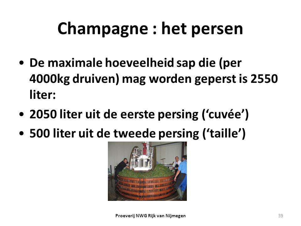 Champagne : het persen De maximale hoeveelheid sap die (per 4000kg druiven) mag worden geperst is 2550 liter: 2050 liter uit de eerste persing ('cuvée