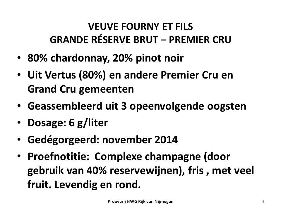 VEUVE FOURNY ET FILS GRANDE RÉSERVE BRUT – PREMIER CRU 80% chardonnay, 20% pinot noir Uit Vertus (80%) en andere Premier Cru en Grand Cru gemeenten Ge