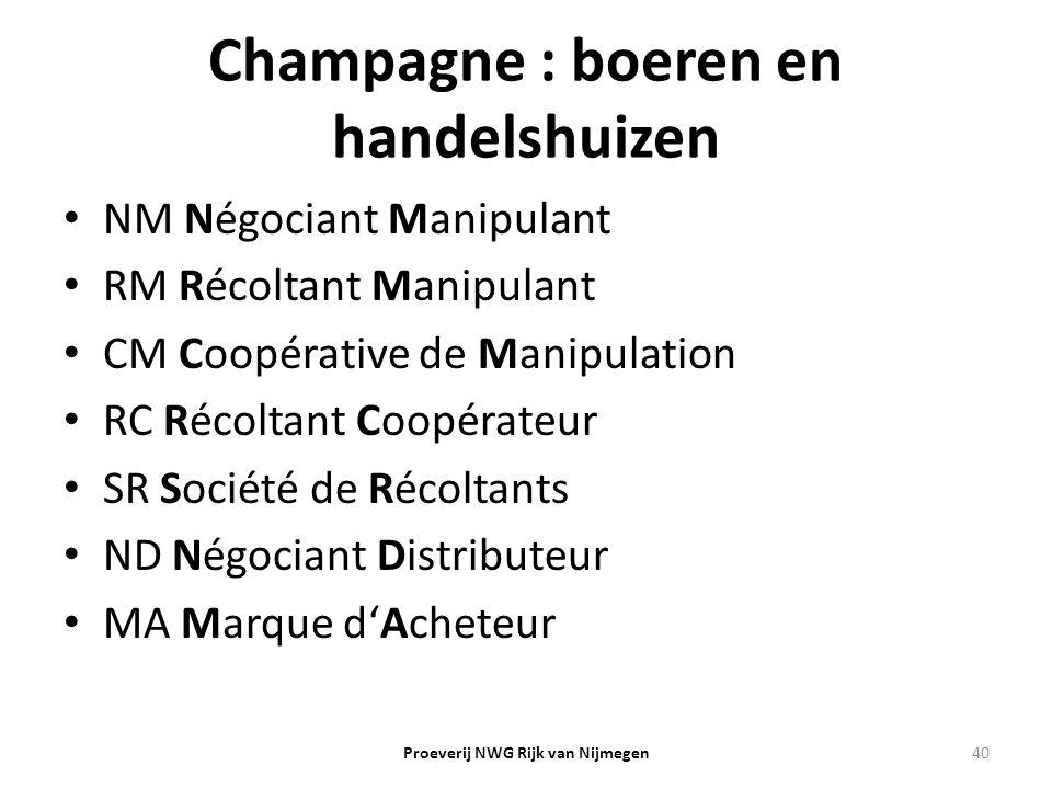 Champagne : boeren en handelshuizen NM Négociant Manipulant RM Récoltant Manipulant CM Coopérative de Manipulation RC Récoltant Coopérateur SR Société