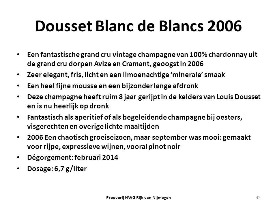 Dousset Blanc de Blancs 2006 Een fantastische grand cru vintage champagne van 100% chardonnay uit de grand cru dorpen Avize en Cramant, geoogst in 200
