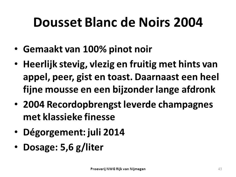 Dousset Blanc de Noirs 2004 Gemaakt van 100% pinot noir Heerlijk stevig, vlezig en fruitig met hints van appel, peer, gist en toast. Daarnaast een hee
