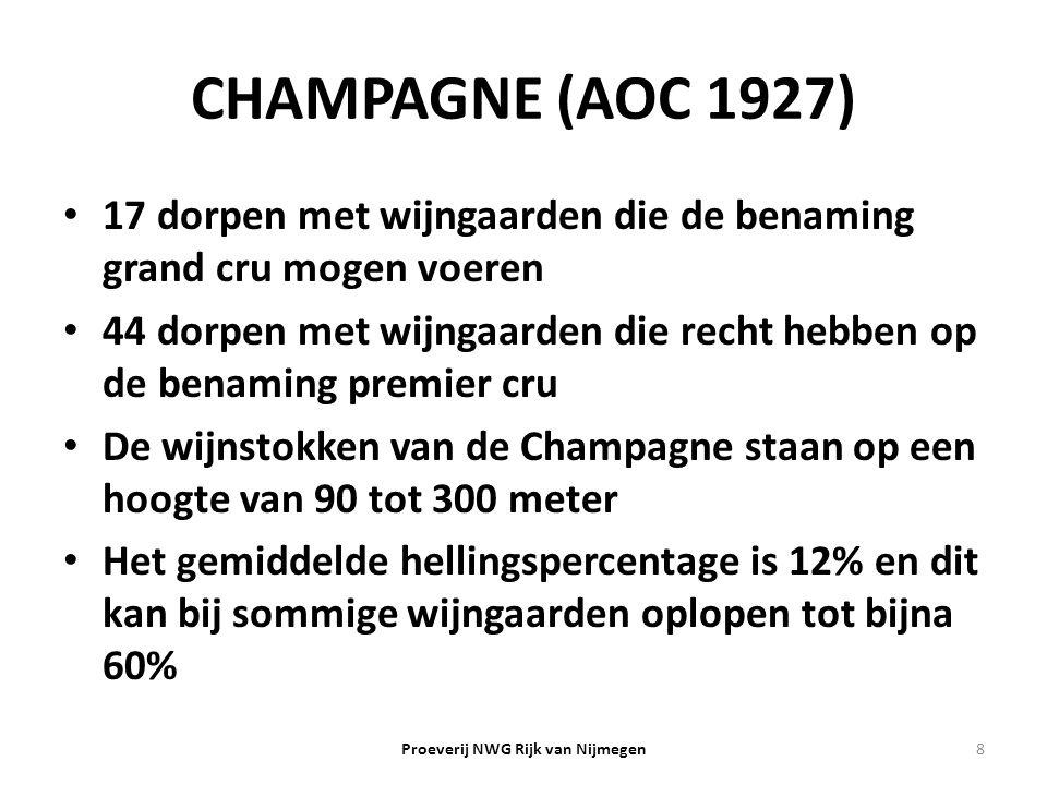 CHAMPAGNE (AOC 1927) 17 dorpen met wijngaarden die de benaming grand cru mogen voeren 44 dorpen met wijngaarden die recht hebben op de benaming premie