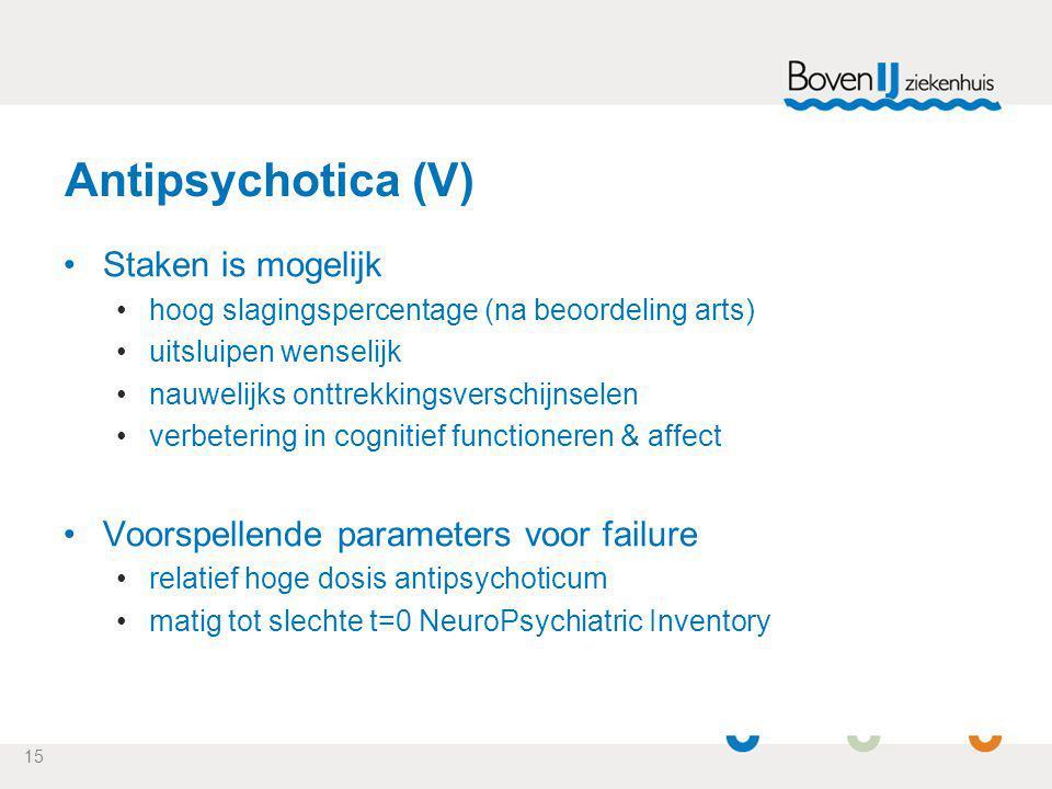 15 Antipsychotica (V) Staken is mogelijk hoog slagingspercentage (na beoordeling arts) uitsluipen wenselijk nauwelijks onttrekkingsverschijnselen verb