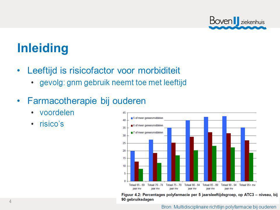 4 Inleiding Leeftijd is risicofactor voor morbiditeit gevolg: gnm gebruik neemt toe met leeftijd Farmacotherapie bij ouderen voordelen risico's Bron: