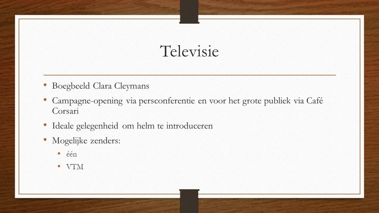 Televisie Boegbeeld Clara Cleymans Campagne-opening via persconferentie en voor het grote publiek via Café Corsari Ideale gelegenheid om helm te introduceren Mogelijke zenders: één VTM