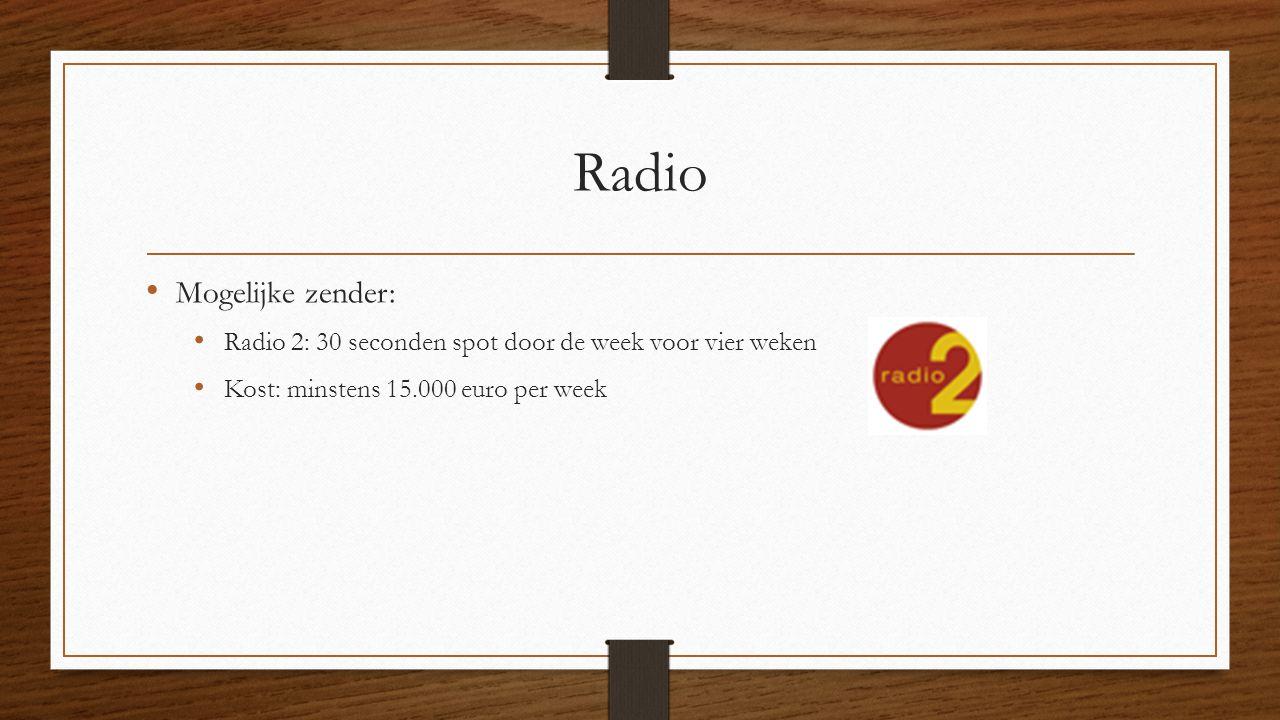 Radio Mogelijke zender: Radio 2: 30 seconden spot door de week voor vier weken Kost: minstens 15.000 euro per week