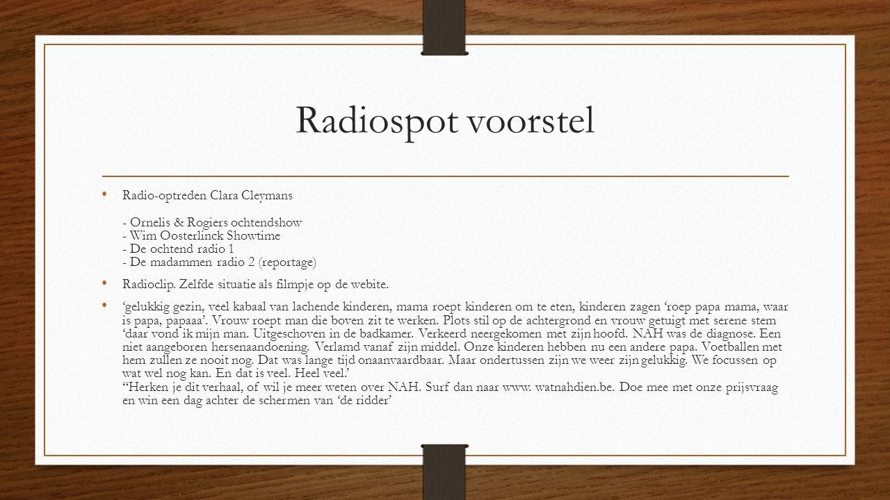 Radiospot voorstel Radio-optreden Clara Cleymans - Ornelis & Rogiers ochtendshow - Wim Oosterlinck Showtime - De ochtend radio 1 - De madammen radio 2 (reportage) Radioclip.