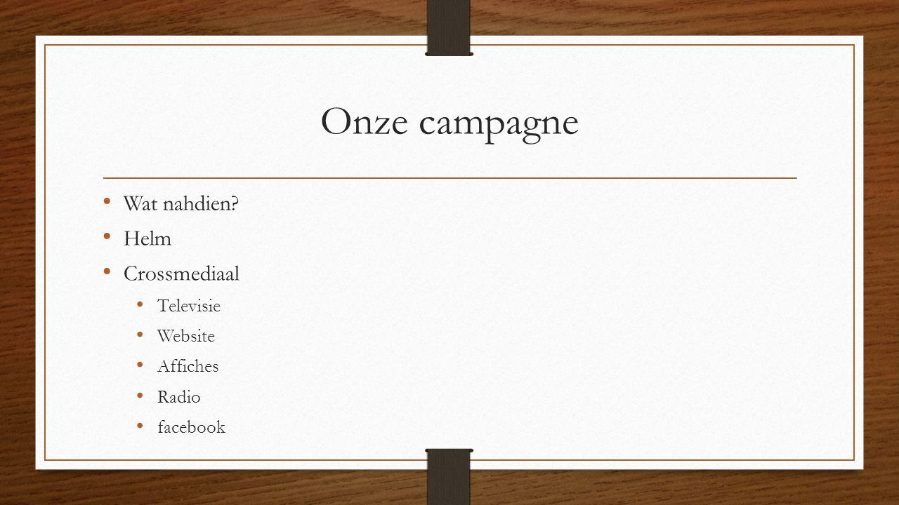 Onze campagne Wat nahdien? Helm Crossmediaal Televisie Website Affiches Radio facebook