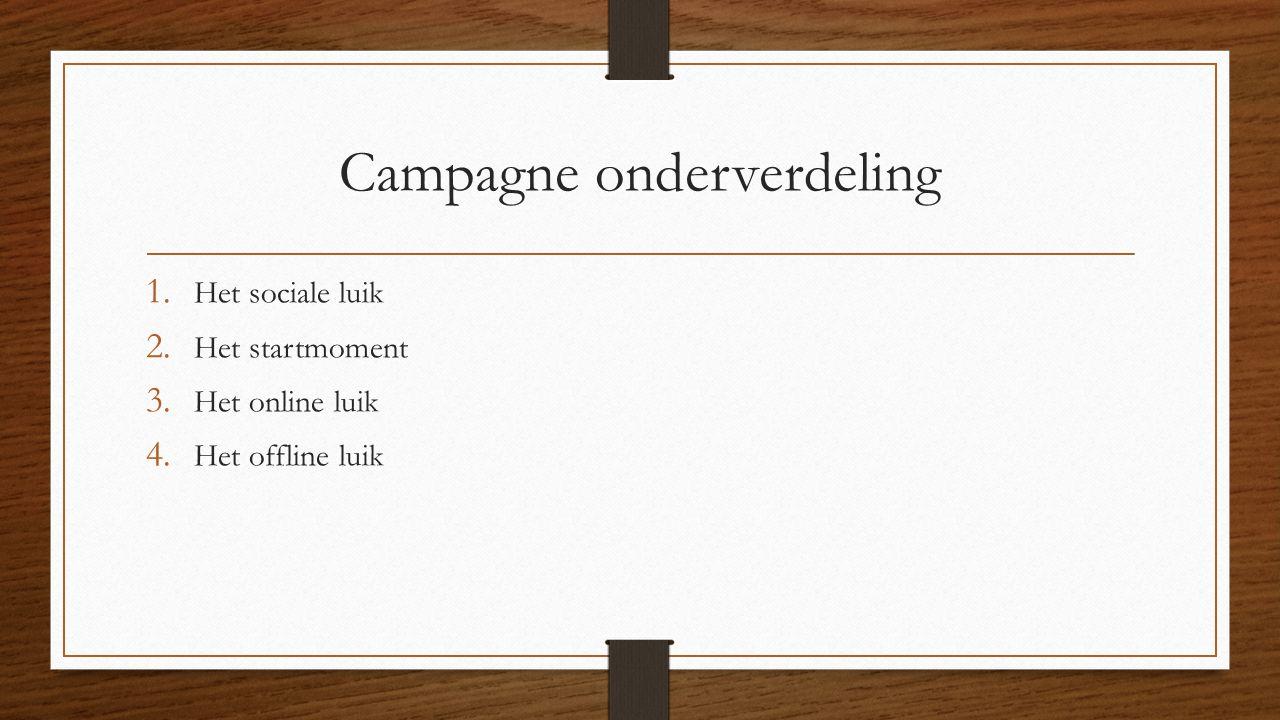 Campagne onderverdeling 1. Het sociale luik 2. Het startmoment 3.