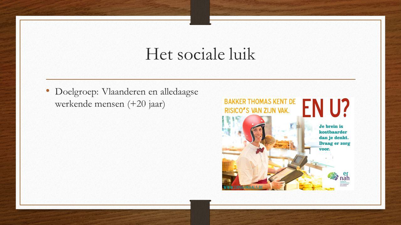 Het sociale luik Doelgroep: Vlaanderen en alledaagse werkende mensen (+20 jaar)