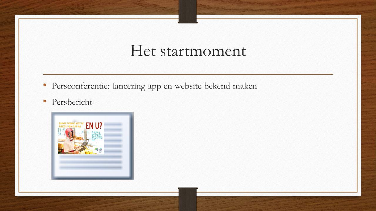 Het startmoment Persconferentie: lancering app en website bekend maken Persbericht