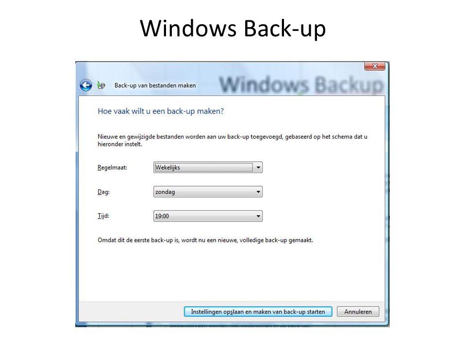 Manuele Back-up Windows XP: Mijn Documenten (XP: C:\Documents and Settings\inlognaam\Mijn Documenten, Vista: C:\Gebruikers\inlognaam\Documenten, 7: C:\Gebruikers\inlognaam\Mijn documenten) Oftewel de map met de persoonlijke bestanden.