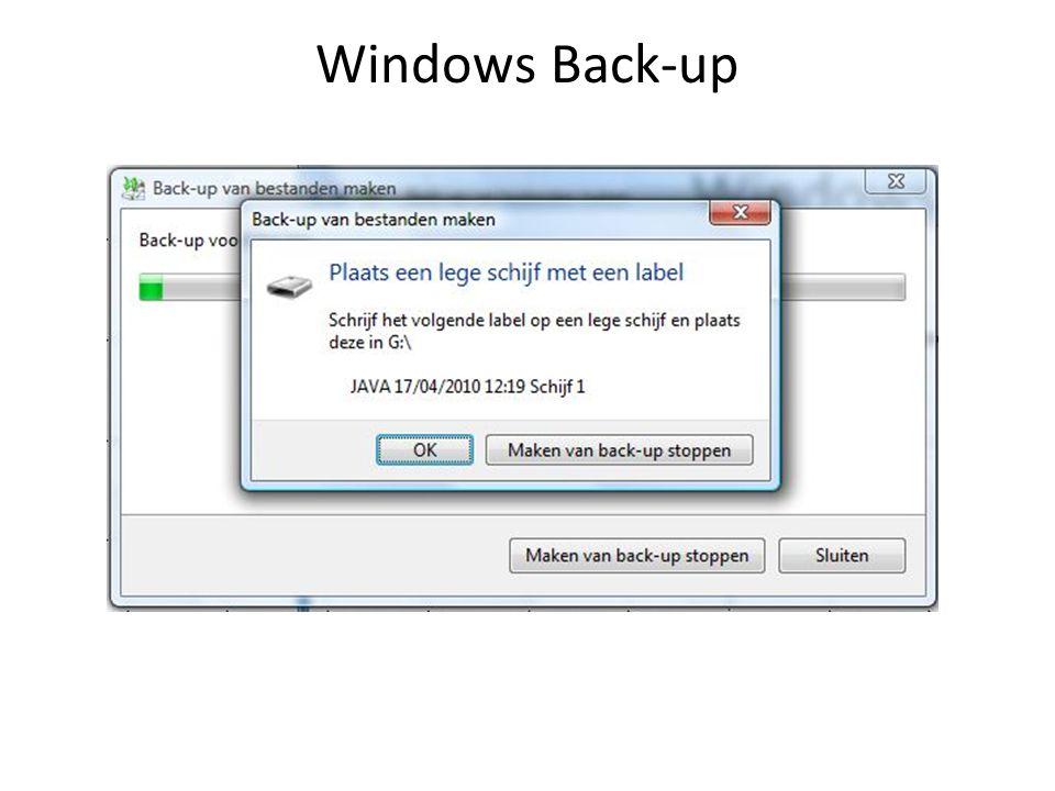 Een back-up maken: voorbeeld