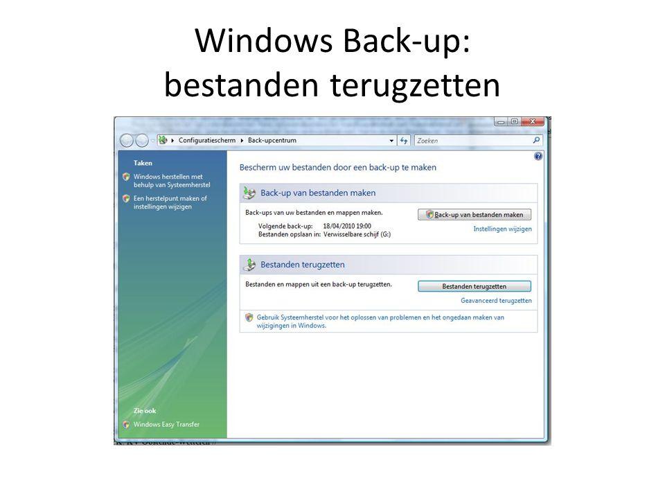 Manuele Back-up E-mailarchief Windows Mail (Vista: C:\Gebruikers\inlognaam\AppData\Local\Microsoft\Windows Mail) Het gaat om de gehele inhoud van de map.