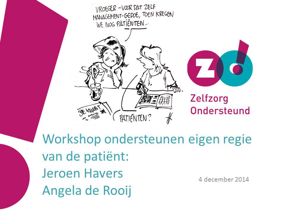 Workshop ondersteunen eigen regie van de patiënt: Jeroen Havers Angela de Rooij 4 december 2014