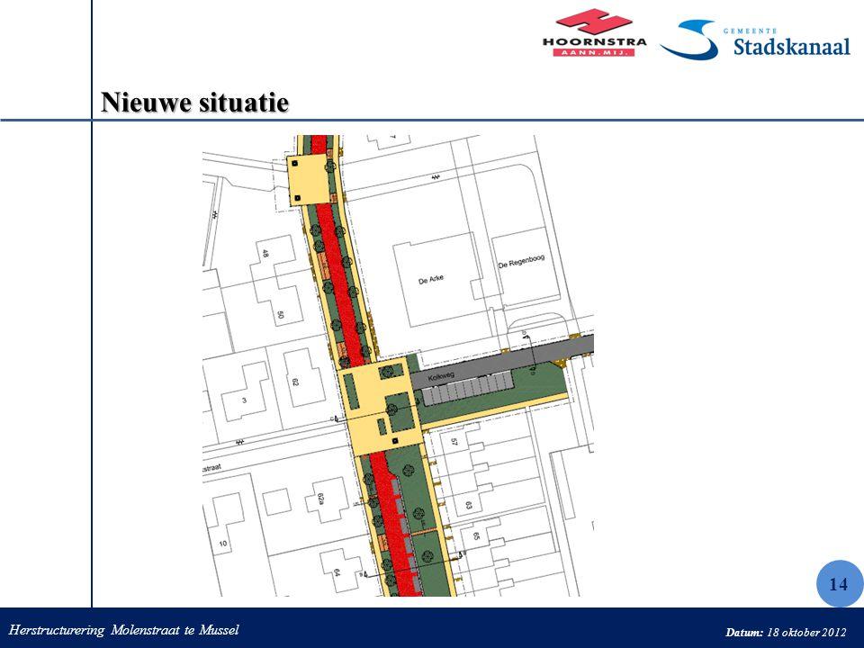 Herstructurering Molenstraat te Mussel Datum: 18 oktober 2012 Nieuwe situatie 14