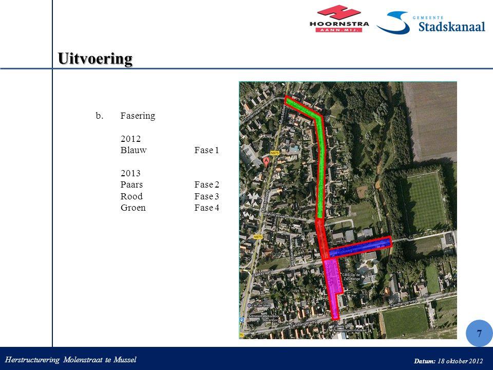 Herstructurering Molenstraat te Mussel Datum: 18 oktober 2012 Uitvoering b.Fasering 2012 BlauwFase 1 2013 Paars Fase 2 RoodFase 3 Groen Fase 4 7