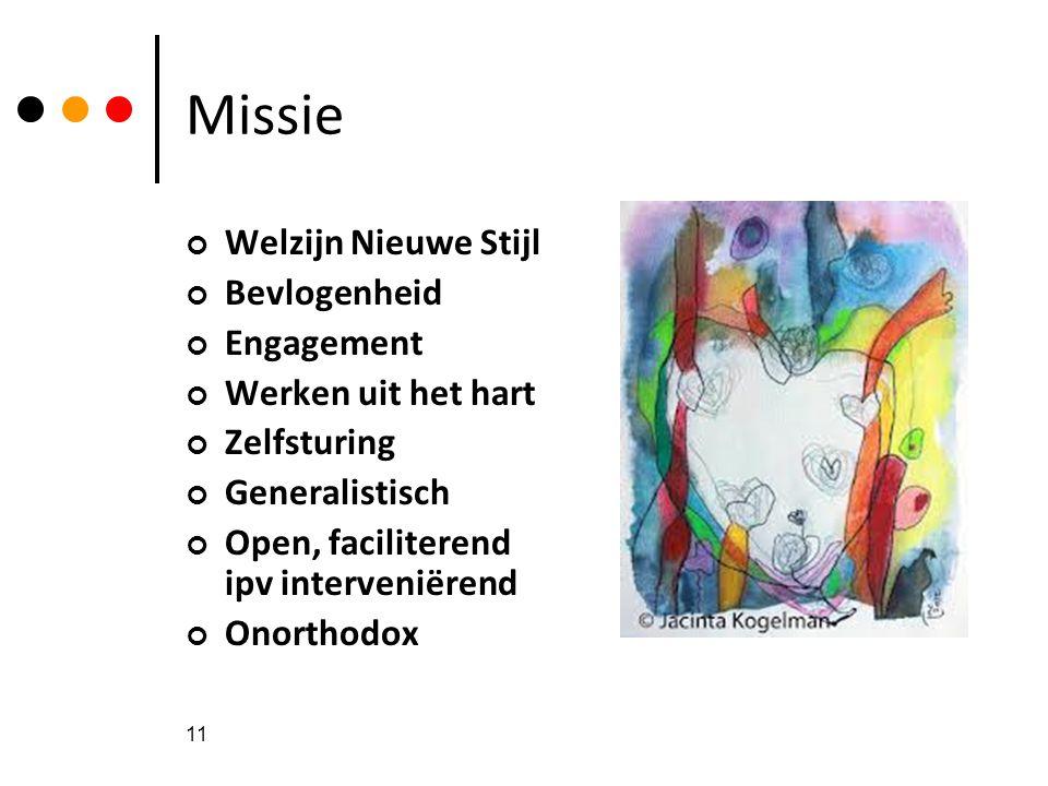 11 Missie Welzijn Nieuwe Stijl Bevlogenheid Engagement Werken uit het hart Zelfsturing Generalistisch Open, faciliterend ipv interveniërend Onorthodox
