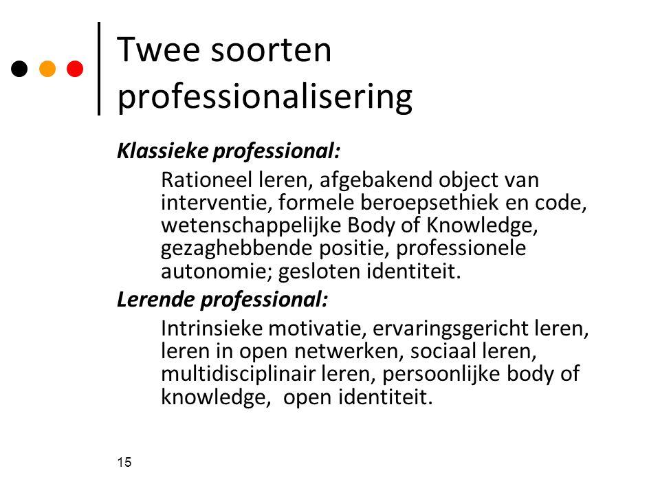 15 Twee soorten professionalisering Klassieke professional: Rationeel leren, afgebakend object van interventie, formele beroepsethiek en code, wetensc