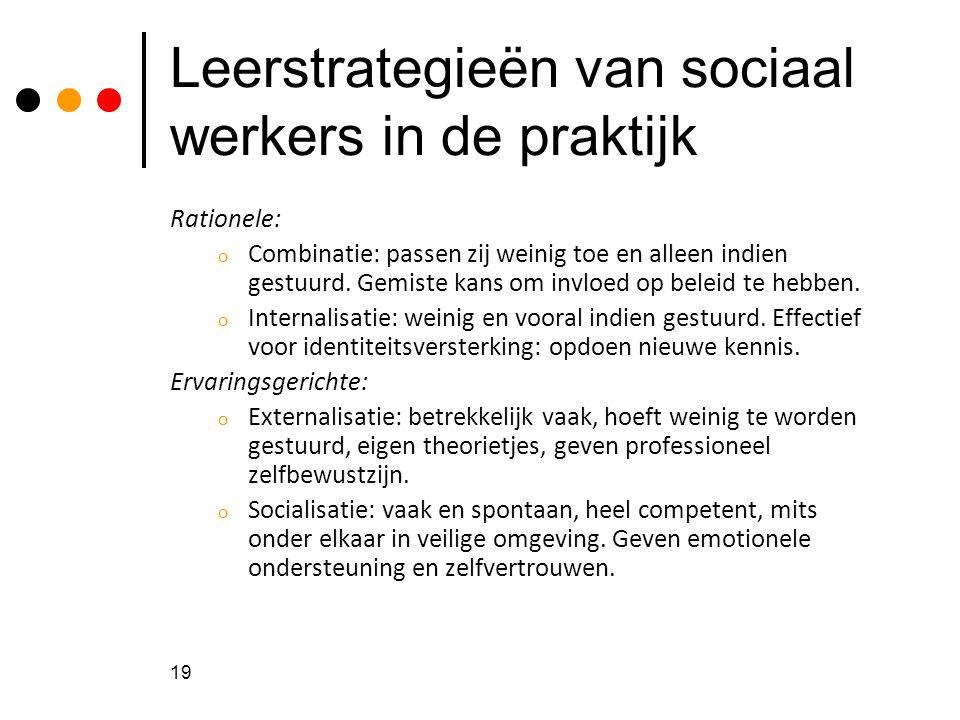 Leerstrategieën van sociaal werkers in de praktijk Rationele: o Combinatie: passen zij weinig toe en alleen indien gestuurd. Gemiste kans om invloed o