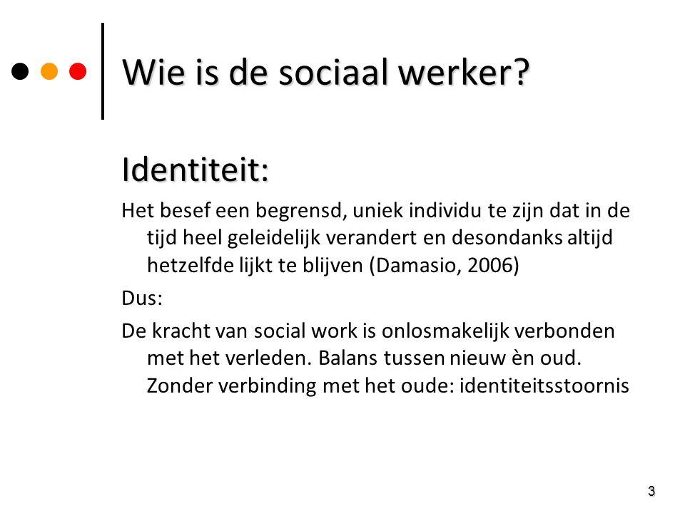 3 Wie is de sociaal werker? Identiteit: Het besef een begrensd, uniek individu te zijn dat in de tijd heel geleidelijk verandert en desondanks altijd