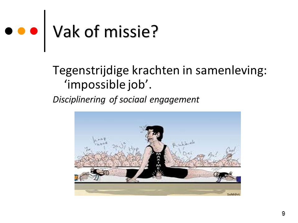 9 Vak of missie? Tegenstrijdige krachten in samenleving: 'impossible job'. Disciplinering of sociaal engagement