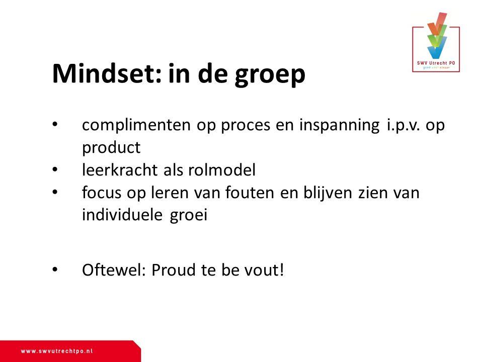 Mindset: in de groep complimenten op proces en inspanning i.p.v.